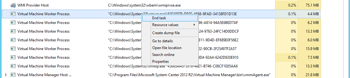 Managing VMs stuck in the 'Starting' or 'Stopping' state in Hyper-V